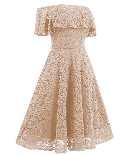 Gigileer Vintage 1950s Damen Kleid Spitzenkleid Off Schulter knielang festlich Cocktail Abendkleid Cremefarben