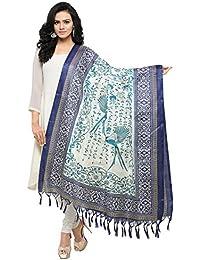 Salwar Studio Women's Blue & Off White Jute Silk Printed Dupatta(OM-0031442_Free Size)