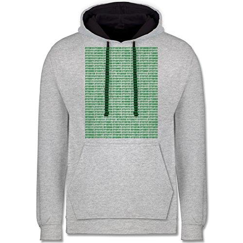 Programmierer - Binärcode - Kontrast Hoodie Grau meliert/Dunkelblau