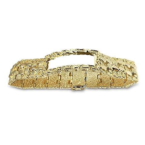 Neue 14K Gold 22mm 20,3cm schwere Nugget Hip Hop Bling Armband