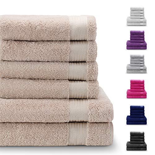 Twinzen Chemikalien-Frei Handtuch Set (6-Teilig) mit 4 Handtüchern und 2 Badetüchern, 100{9669e9be9aec380b629a751d9e3137c6ca5b4757e68a14da6b92d84202dca553} Baumwolle - Hotel- und Wellnessqualität - Oeko TEX Std 100 Zertifizierung - Weich und Saugstark