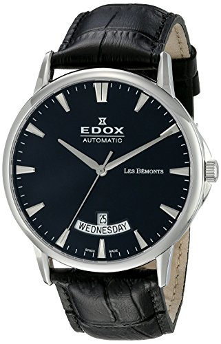 Edox Men's 42mm Black Calfskin Band Steel Case S. Sapphire Automatic Analog Watch 83015 3 NIN