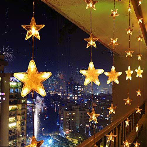 LED Lichterkette Warmweiß 80 Sterne Lichtervorhang 140 LED Außen Innen  Sternenvorhang Fernbedienung Weihnachtsbeleuchtung Schlafzimmer Weihnachten  ...