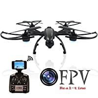 Amosting RC Drone Real Time Transmission One Key Return 3D Flip Easy to Control with 0.3MP HD Camera and Led Light - Black