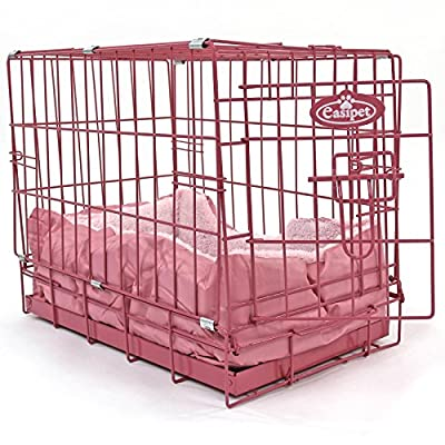 """Easipet 20"""" Pink Cage with Pink Fleece Dog Bed by Easipet"""