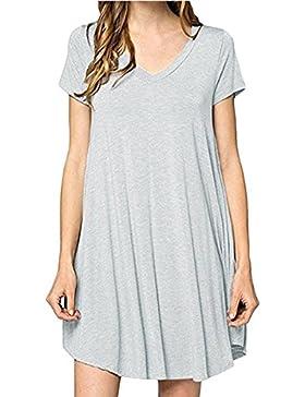 Tomayth Casual Mujer Escote V Vestidos Casuales Playa Manga Corta Suelto Tallas Grandes Camiseta Colores Lisos...