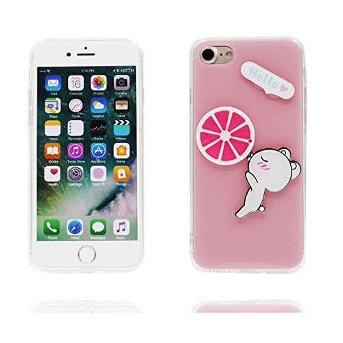 Custodia iPhone 7, Case TPU 3D Durable Cute Shockproof Copertura per iPhone 7 ( 4.7 ) Cover Shell Soft TPU / anatra duck ( bianca ) rosa 2