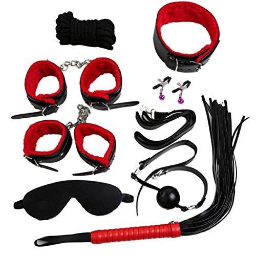 Sex Toys Sex Toys4 pour Couple 8 Pcs BDSM Bondage Set Kit Col Fouet Ball Gag Poignets Corde Retenue Adulte Jouet (Rouge)