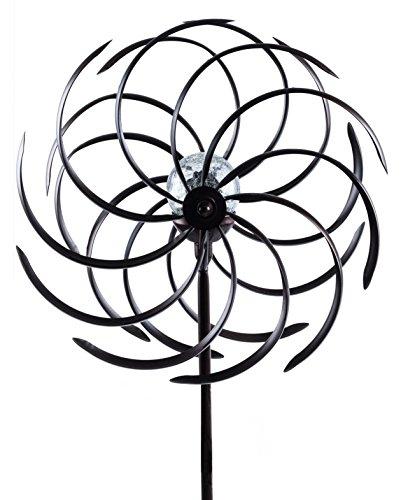 insatech großes Solar LED Doppel Windrad Metall mit Farbwechsel beleuchtet Solarleuchte 1,4m Höhe