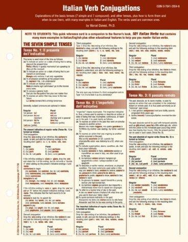 Italian Verb Conjugation Card (Foreign Language Verb Conjugation Cards) by Marcel Danesi (2004-09-01)