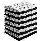 Utopia Towels - Toallas de cocina (12 Paquetes, 38 x 64 Centímetros) Lavable a máquina de algodón puro 6 Paños de cocina Dobby negros y 6 blancos, Toallas de té, Toallas de bar