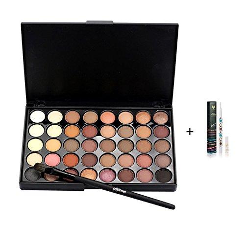 Tefamore Kosmetik Matte Lidschatten Creme Make-up Palette Schimmer Set 40 Farben + Pinsel-Set A (Lila Creme Make Up)