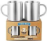 Tasses à café inox thermo-isolantes – 400 ml, Set de 2, incassables, inox garanti sans BPA, lavables au lave-vaisselle...
