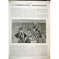 Scena della Spiaggia del Parasole di Virot dei Cappelli del Modo di 1897 (Cappelli Vittoriani Per Le Donne)