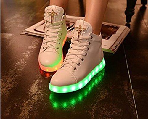 [Present:kleines Handtuch]JUNGLEST® Damen High-Top LED Light Glow Sneaker athletischen Spor Weiß