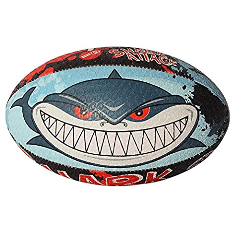 Optimum Men's Shark Attack Rugby Ball - Multi-Colour, Size 5