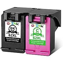 QINK - Tinta para impresora HP Envy 5640, 5642, 5643, 5660, 5661 (2 cartuchos 62 XL negro y color)