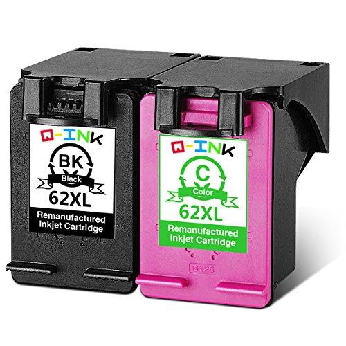 Qink 2 pack (1bk + 1c) per hp 62xl 62 cartuccia di inchiostro nero a colori ad alta capacità rendimento elevato c2p05ae c2p07ae per hp envy 5640 5642 5643 5660 5661