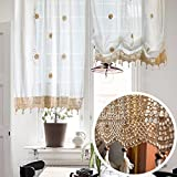Viktorianische Vintage-Stil Leinen Rüschen Stickerei Blume Tie-up Roman Ballon Vorhang Sheer Valance mit Spitze häkeln Grenze