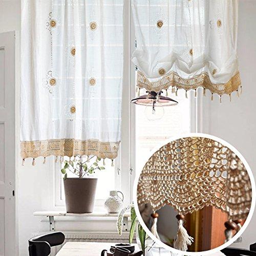 Dokot vittoriano stile vintage linen volant ricamo fiore tie-up roman palloncino tenda mantovana pura con pizzo crochet border, white, 150 x 180cm h