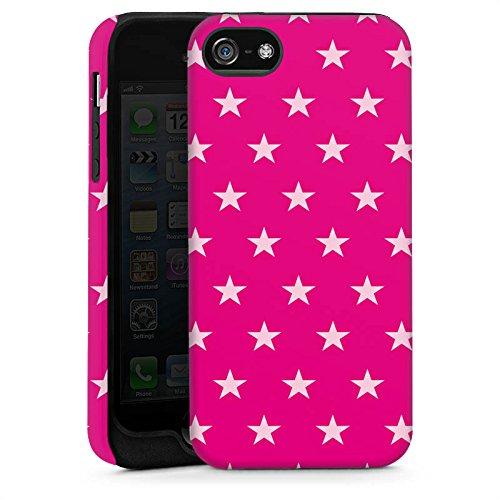 Apple iPhone 5s Housse Étui Protection Coque Étoile Rose vif Motif Cas Tough brillant