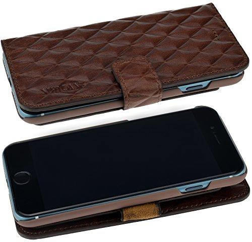 iPhone 7 | Suncase Book-Style LUXUS Ledertasche Tasche Klapp Hülle Schutzhülle WALLET CASE - in Raute Design (Rot) inkl. Panzerglas Folie 9H braun / rauten design