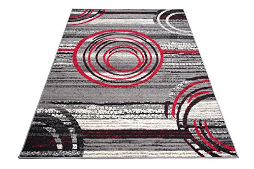 Carpeto Designer Teppich Modern Grau Kreis Rot Abstrakt Stil Muster - ÖKO TEX (250 x 300 cm) -
