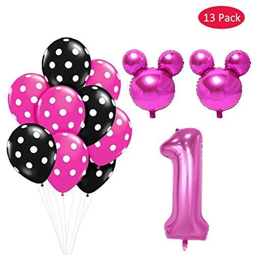 Amycute Girls 1. Geburtstag Dekorationen,Deko 1 Geburtstag, Maus-Luftballons, 1. Geburtstag Party Luftballons ,Party Dusche Foto Requisiten. (Rose)