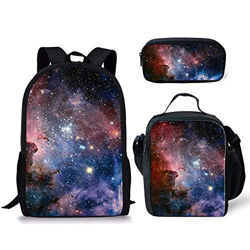 POLERO Galaxy Universe Printed Schultasche für Mädchen, Teens Rucksack Set, Mädchen Rucksack mit Lunch Bag, 3 in 1 Back Pack - Spielzeug Pit Bull