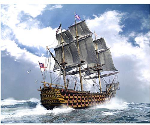 40X50cm Ölfarbe Malen nach Zahlen DIY Bild Zeichnung Färbung auf Leinwand Gemälde von Hand Wandfarbe Landschaft Schiff , kein Rahmen