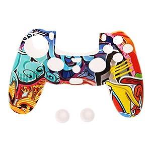 Multicolor Style Silikon Gamepad Hülle + 2 Joystick Cap Für PS4 Controller