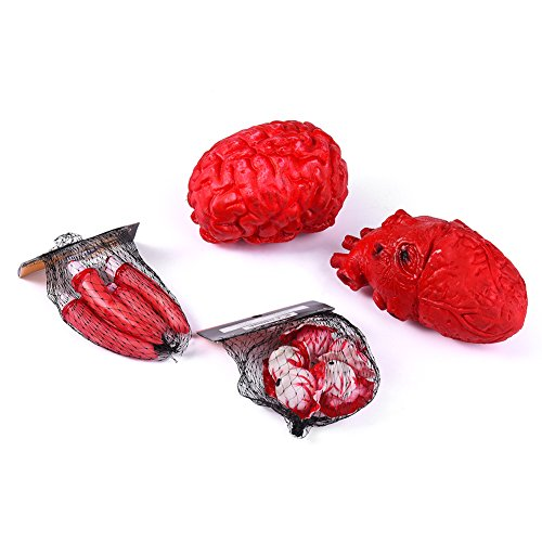 ackte Körperteile Augapfel Halloween Grusel Partydeko Blutige Organe Abgehackter Herz Abgetrennter Finger, Augapfel und Gehirm (Herzen Halloween)