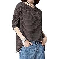 ALUK- Suéter de otoño e invierno ocio párrafo corto de manga larga camisa de punto ( Color : Color cafe , Tamaño : L )