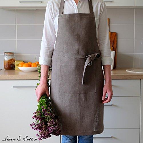 Linen & Cotton Tablier de Cuisine de Luxe ELLA, 100% Lin - Gris (70 x 84cm)