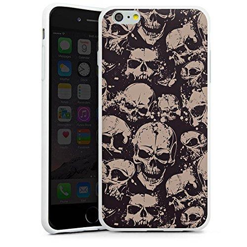 Apple iPhone X Silikon Hülle Case Schutzhülle Skull Böse Gothic Silikon Case weiß