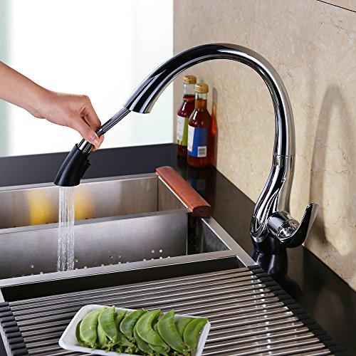 Homelody - Design-Küchenarmatur mit ausziehbarer Brause, Chrom
