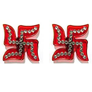 Hand Crafted Designer Red Swastik (Auspicious Hindu Symbol) - Stone Studded Acrylic Sticker for Floor or Wall Decoration - 1 Pair