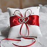 Zentto - Cojín para anillos de boda, diseño romántico, 10 x 10 cm (1 pieza), Cinta, rosso, Altura 100 cm