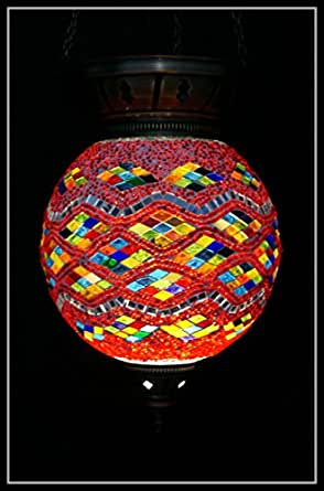 Mosaik deckenlampe h ngelampe orientalisch mosaik samarkand lights beleuchtung for Mosaik lampe orientalisch