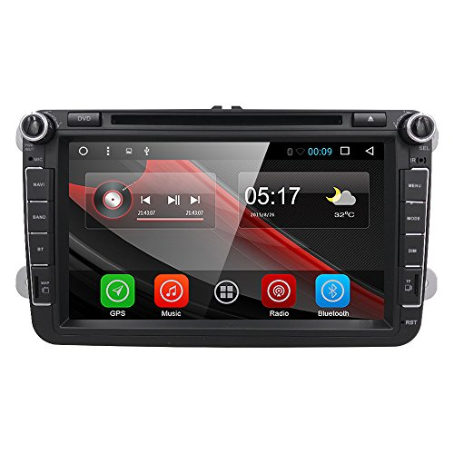 """HIZPO® 8"""" Android 6.0 HD Digital Multi-touch Screen 1080P Video Car in Dash DVD Player Custom fit for Volkswagen / Seat / Skoda"""