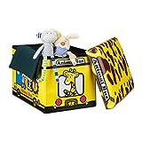 Relaxdays Faltbare Spielzeugkiste Giraffe HBT 32 x 48 x 32 cm stabiler Kinder Sitzhocker als Tier Spielzeugbox Kunstleder mit Stauraum ca. 37 l und Deckel zum Abnehmen für Kinderzimmer, Animal Bus