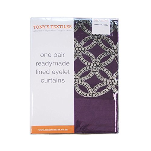 Tony's Textiles Rio Sequin Diamante Eyelet Ring Top Fully Lined Curtains – Aubergine Purple (46″ Wide x 72″ Drop)