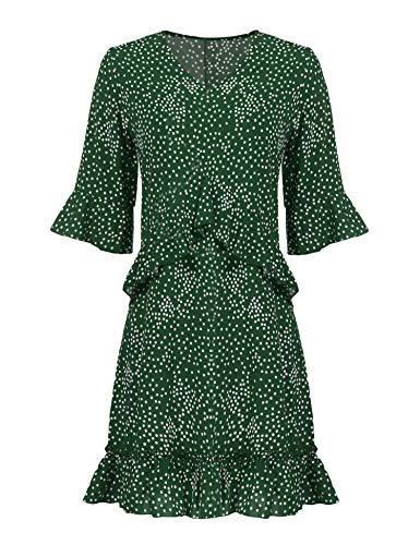 Parabler Damen Elegant V-Ausschnitt Blusenkleid Freizeitkleid Strandkleider Partykleider A Linie Halbarm mit Rüschen Punkte Polka Dot Causual Kleid (Polka-dot Frauen Kleid)