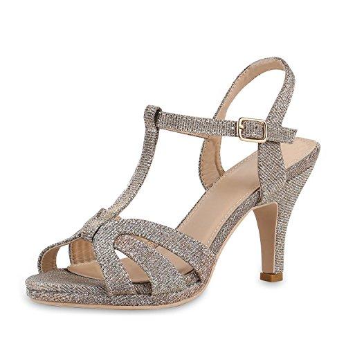 Damen Party Sandaletten Glitzer T-Strap High Heels Schuhe Rose Gold Glitzer Shiny 37 Jennika