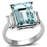 ISADY - Meghan Sea Blue - Damen Ring - Zirkonium Aquamarine - Verlobungsring - T 52 (16.6)