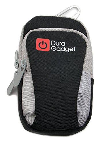 Hochwertige Oberarmtasche / Armband-Tasche für Samsung Galaxy S3 Mini (GT-I8200) Smartphones; verfügt über zwei Fächer und eignet sich für den Arm oder das Bein - Farbe: Schwarz / Grau