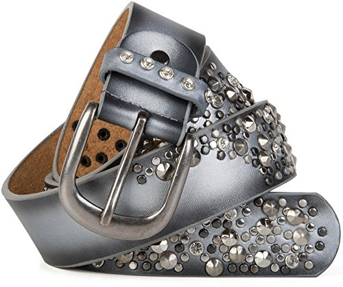 styleBREAKER Vintage Gürtel mit Nieten und Strass im 2-Tone Design, kürzbar, Damen 03010057, Farbe:Silber;Größe:95cm