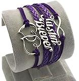 D'amelie Justin Bieber Armband aus Leder in unterschiedlichen Styles Leder modern schick zeitlos schmucker Armband Damen Charms - Infinity Armband Armreif Schmuck Herz