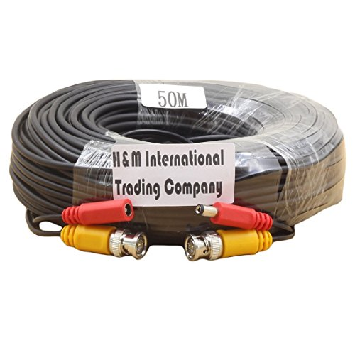 Generic BNC video cable safety power cord plug combination cable for CCTV Camera 50M(164ft) -