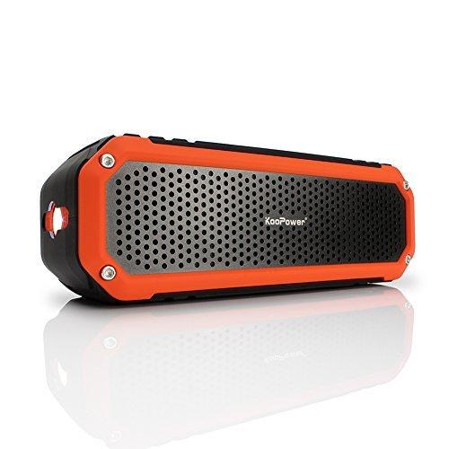 [10W Outdoor Alu-lautsprecher] KooPower Bluetooth Lautsprecher mit Mikrofon, Haken und LED Taschenlampe [10 Stunden Spielzeit] - Wireless Wasserdichte Dusch-Lautsprecher für Bad, Büro, Auto, Camping, Radfahren - Schwarz / Orange (Bluetooth-lautsprecher-mikrofon)